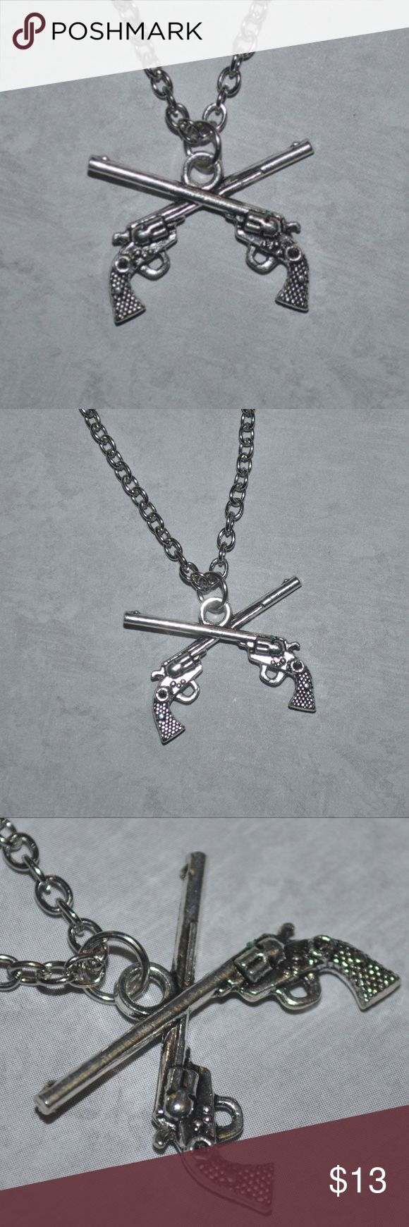 Silver Guns Necklace Brand New / tags: guns wicked neat rad bad girl unisex wome…  – My Posh Picks