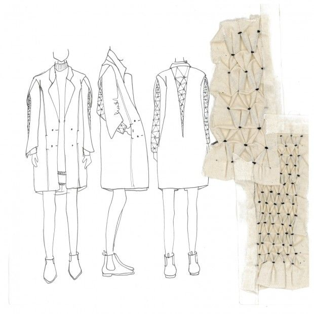 Initial designs accompanied by 3D fabric manipulation sample