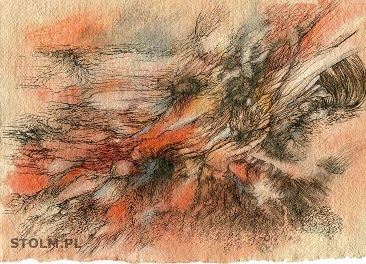 Meadow ink on paper artist Stanisława Olszańska Marszałek abstraction art