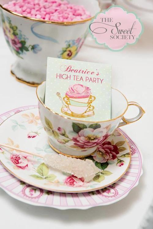 •.¸.•´ ` ❤☆.¸.☆ *❤•.¸.•´ `•.¸.•´ ` ❤☆.¸.☆   cute high tea party  •.¸.•´ ` ❤☆.¸.☆ *❤•.¸.•´ `•.¸.•´ ` ❤☆.¸.☆ Pretty place cards - luv the sugar sticks too.