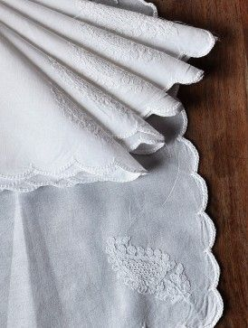 White Cotton Chikankari Embroidered Handkerchief (Set of 6) 10in x 10in