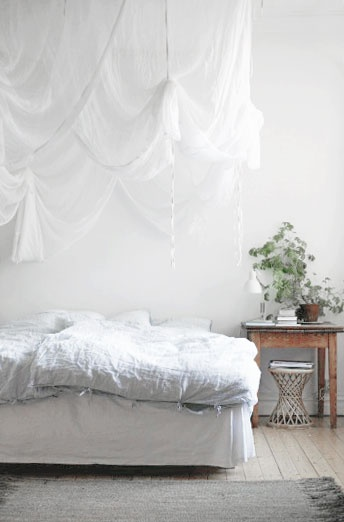 ~ beautifully draped netting over the bed