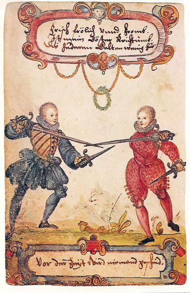 Fencing noble students, around 1590.