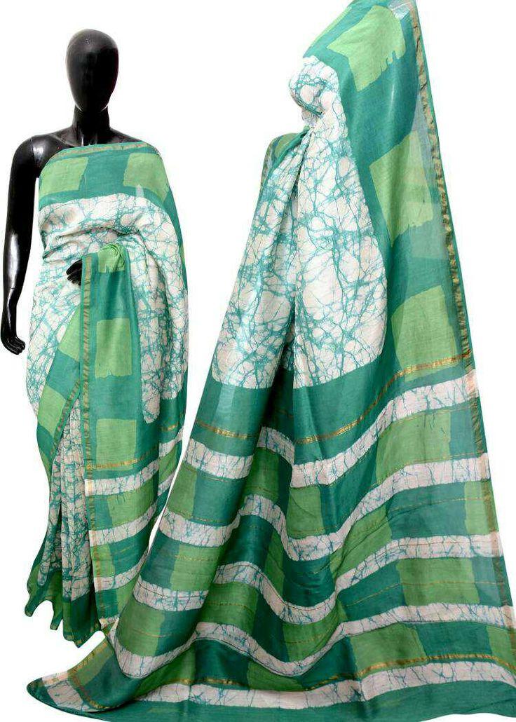 Hand block printed batik print silk cotton sarees availabe