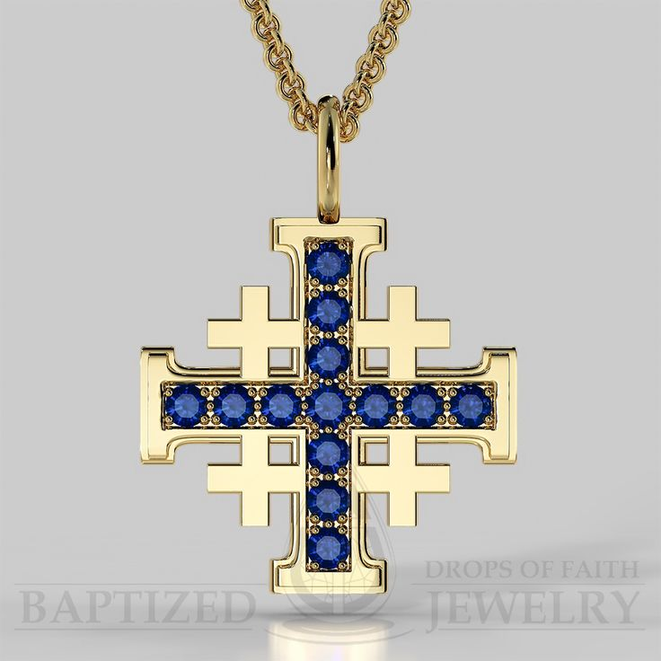 Jerusalem Cross Pendant with Blue Sapphire in a Yellow Gold Chain