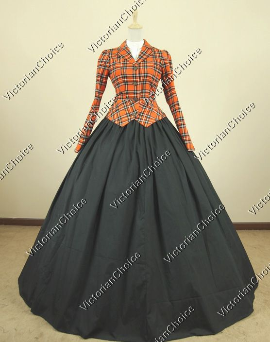 Civil War Victorian Corduroy Tartan Day Dress Ball Gown Reenactment Clothing