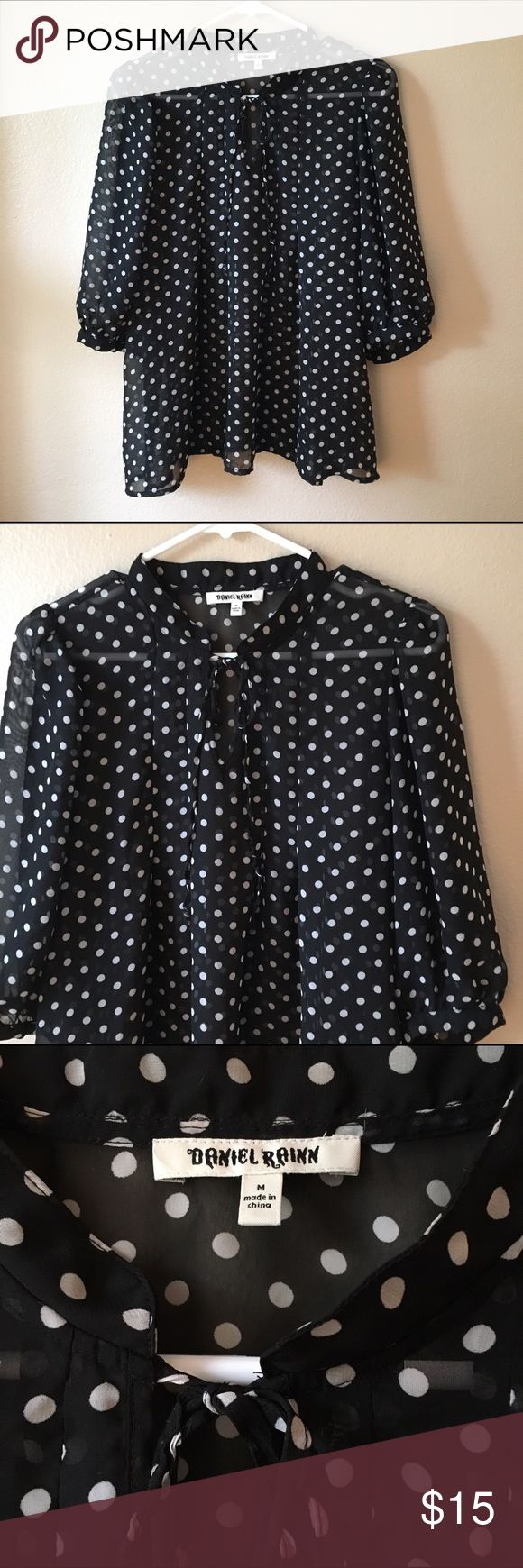 Polka Dot blouse Loose fit blouse with polka dots pattern. Pair with your fur vest and black leather jeans. Tops Blouses