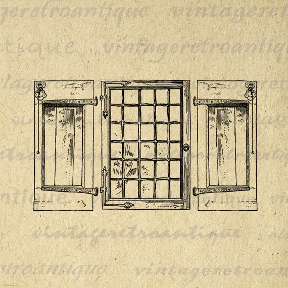 Digital Printable Window with Shutters Image Download Graphic Antique Clip Art. Printable digital illustration from antique artwork for making prints, fabric transfers, and much more. For personal or commercial use. This graphic is high quality, large at 8½ x 11 inches. A Transparent background png version is included.
