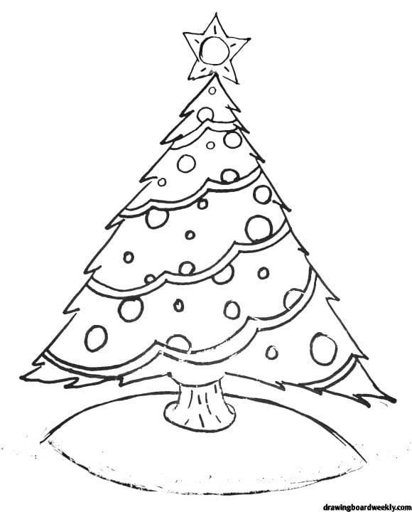 Christmas Tree Coloring Page A Christmas Tree Is A Decorated