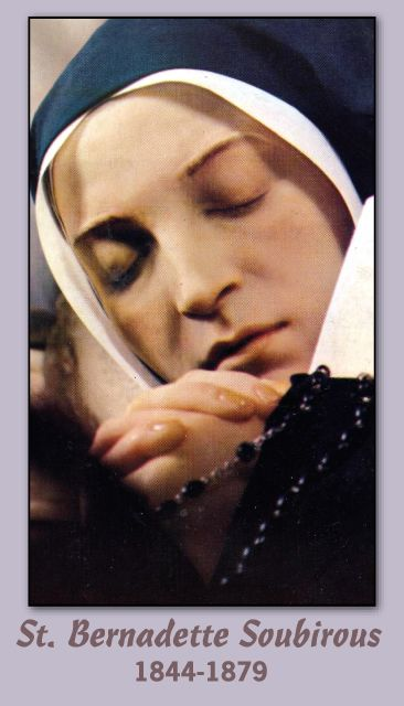 St.Bernadette incorrupt body | Front of card - picture of her incorrupt body: