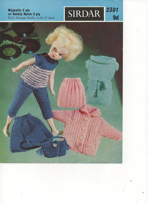 1960s Sindy Doll Clothes Outfit Tenage Doll Knitting Pattern pdf file