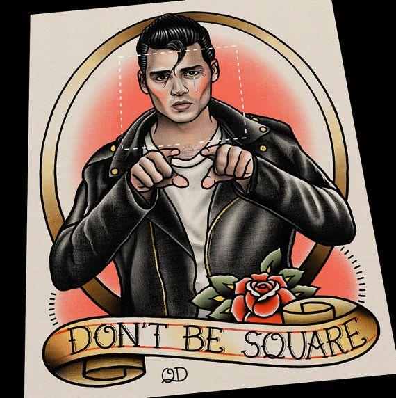 Rockabilly, Greaser. Cry Baby Walker Tattoo Flash Art Print
