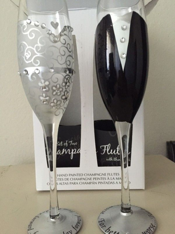 These champagne flutes were purchased, however I did not get a chance to use them at my bridal party rehearsal dinner. They are still in the original box and packaging. I originally paid $60.00 for the set. Shipping not included and the fee can be provided with zip code info if not a local pickup.