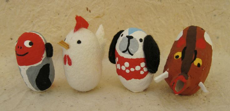 "The third four animals of the Japanese zodiac (junishi) made out of silk worm cocoons. from the Kabuki-za in the Ginza in Tokyo. 1 1/4"" to 1""."