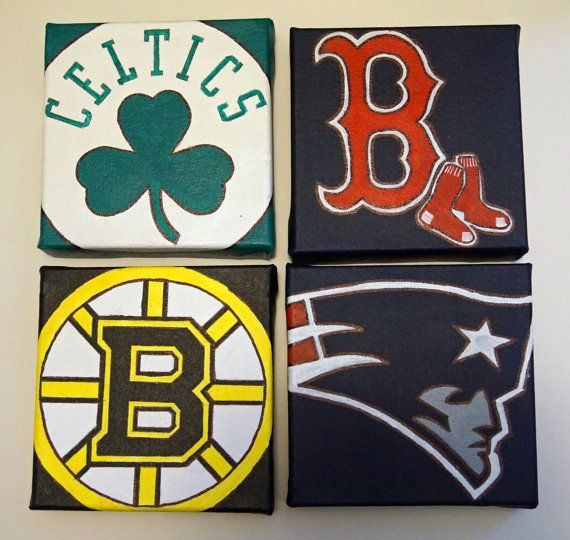 Set of 4 6x6 Boston Sports Paintings  Patriots Bruins by MPsArts, $44.00