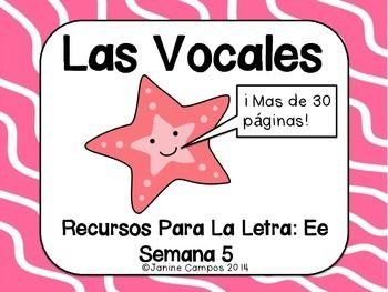 Las Vocales - La Letra Ee - (Set Five of Five) - Part of the Spanish Alphabet - Letter Ee - Esta comprando 31 paginas que se enfocan en palabras simples que comienzan con E. En 10 paginas se comparan dos vocales de las semanas pasadas (O, A, U, I) para repaso.