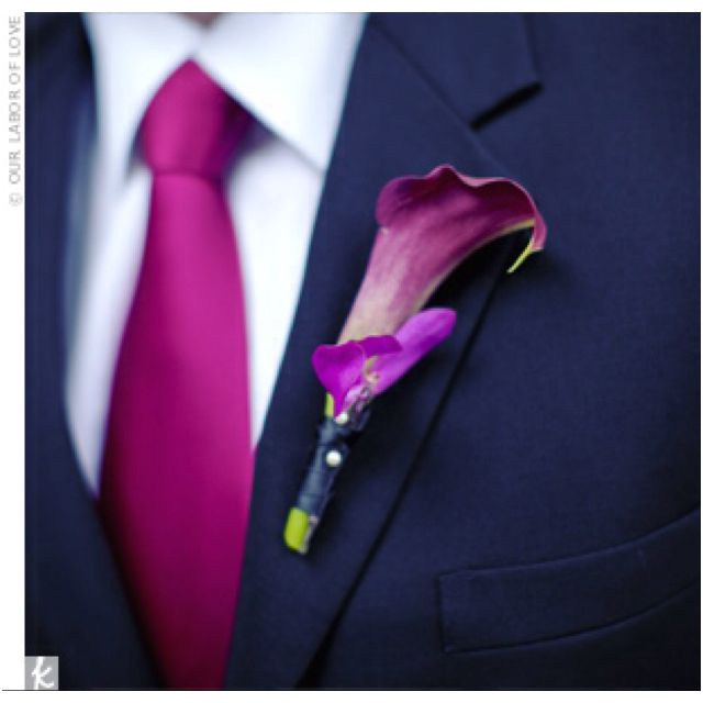 Navy suit with plum/purple tie; wedding attire brainstorm