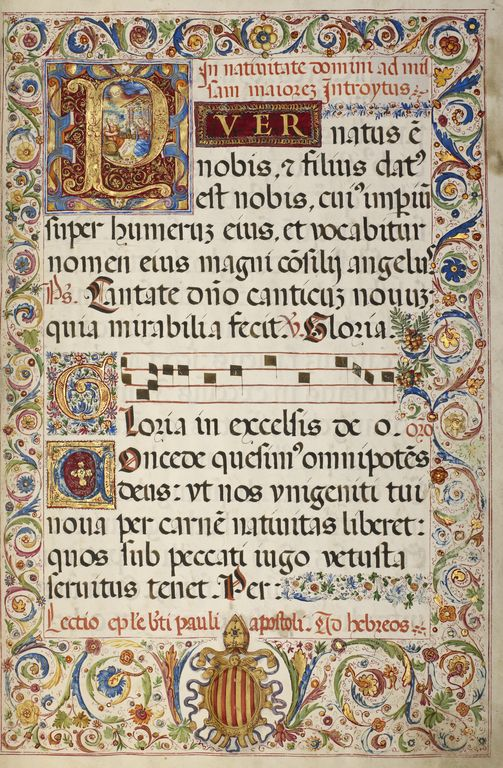"""""""Initial P: The Adoration of the Christ Child,"""" Fra Vincentius a Fundis, 1567."""