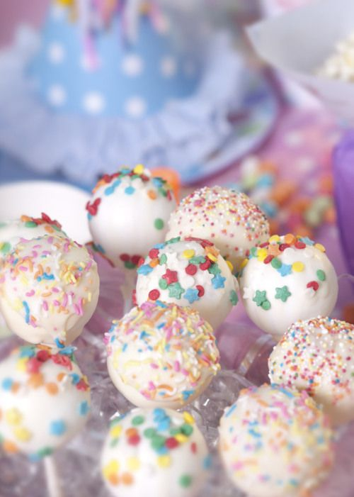 Carnival party: The cool thing about these cute cake pops is that they're small enough for children to enjoy without them licking the icing and leaving all the cake behind.