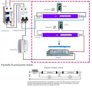 Esquemas eléctricos: Esquema pantalla fluorescente doble