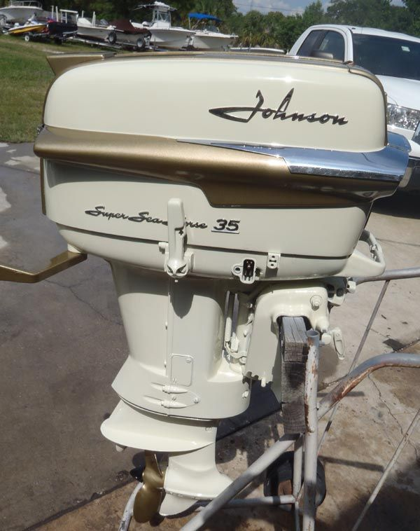 This is a 1958 35hp Johnson Super Seahorse outboard short shaft in great running condition fully restored with a dupont paint job.