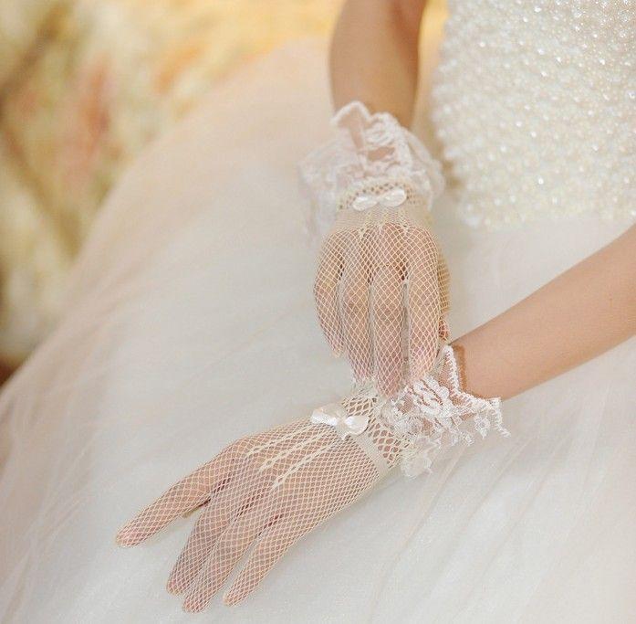 Сетка кружева короткие перчатки свадебные перчатки свадебные перчатки бесплатная доставка оптовая продажа корея стиль свадебного перчатки
