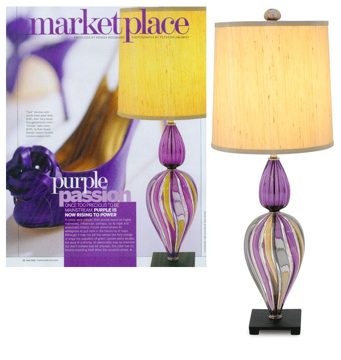Purple Art Glass Table Lamp, Sharing Beautiful Designer Home Decor  Inspirations: Luxury Living Room