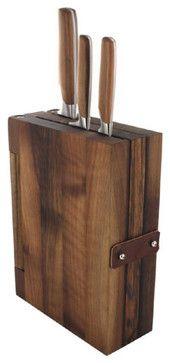 Sarah Wiener Walnut Wood Knife Block - contemporary - knife blocks - los angeles - Fitzsu