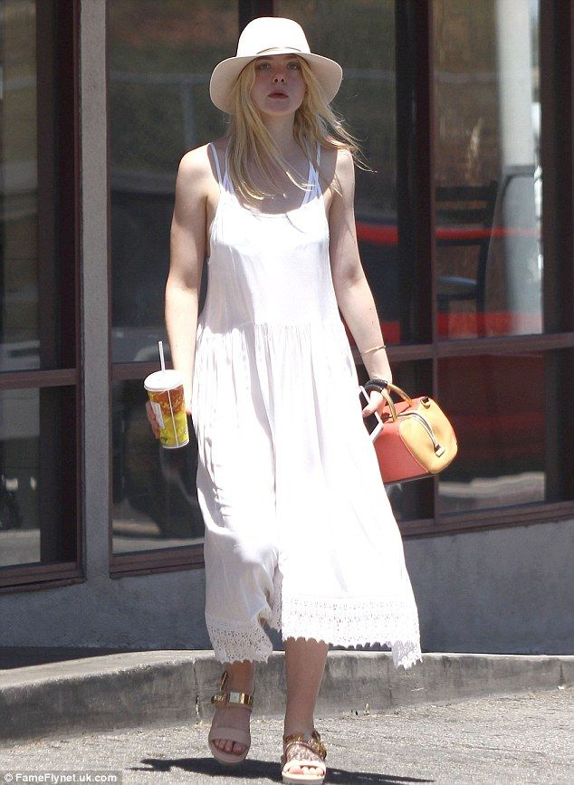 Fast-food fix: Elle Fanning was a vision in white as she emerged from Subway in Studio City Saturday clutching a cool beverage