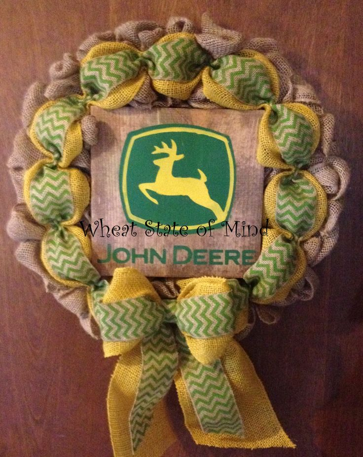 John Deere burlap wreath by: Wheat State of Mind. Look for it on Facebook.