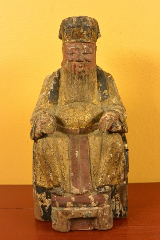 Ancienne Statue Chinoise Vieux Moine