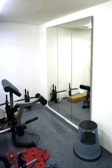 DIY Gym Mirrors - using IKEA mirror doors. Great idea