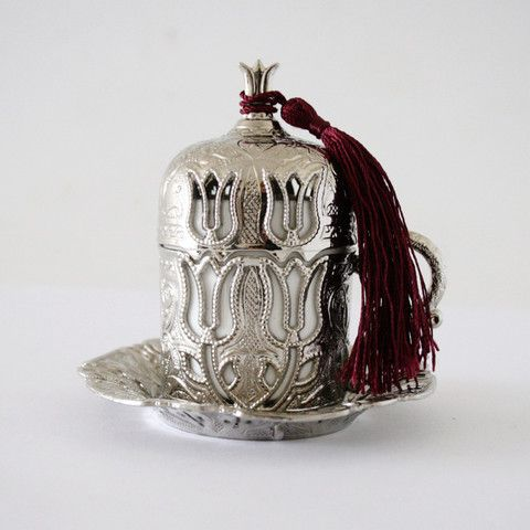 Ottoman Style Silver Turkish Coffee Set For Two