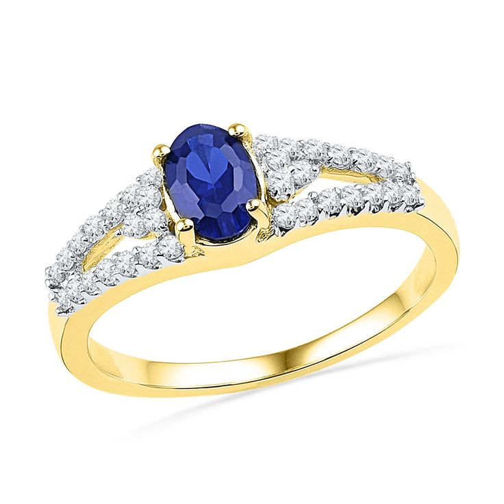 10kt Yellow Gold Oval Lab-Created Blue Sapphire Solitaire Diamond Ring 1.00 Ctw