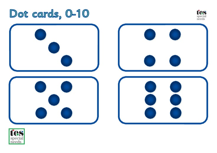 dot and number cards 0 10 simple printable cards for. Black Bedroom Furniture Sets. Home Design Ideas