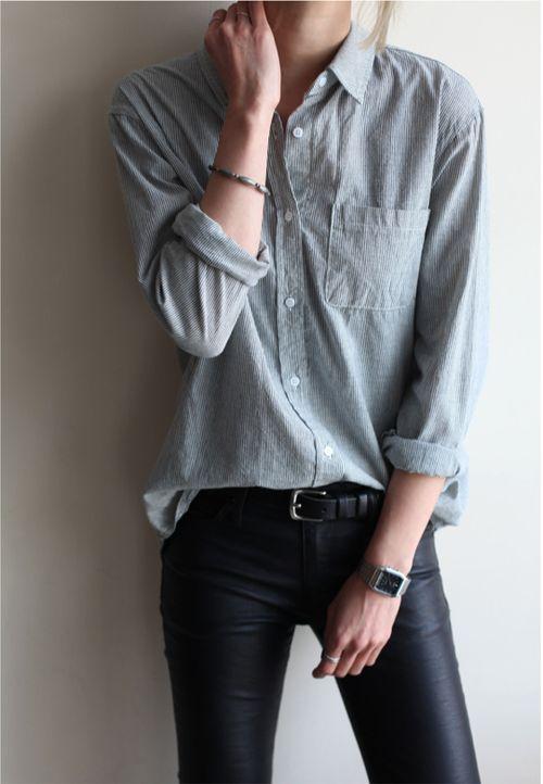 Blue Shirt Black Jeans.