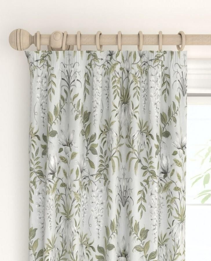 A Beautiful And Sophisticated Floral Featuring Painted White Flowers And Swirling Patterns Of Leaves In Our Sage Tones T 2020 Sage Curtains Curtains White Painting
