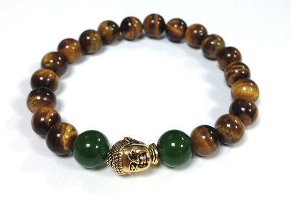 Tiger Eye and Green Jade gemstones Bracelet  with Golden Buddha Bead for MEN Unisex on Etsy, $39.27