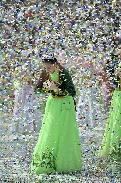 Tashkent, Uzbekistan: Folk dancers in national costume perform during the festivities  Photograph: Anvar Ilyasov/AP