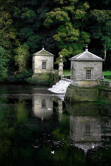 Royal Water Garden at Fountains Abbey - North Yorkshire, England