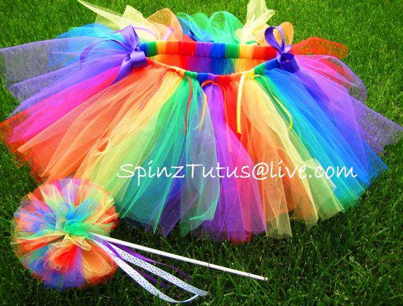 Rainbow Bright Tutu and Magic Wand Set by SpinzTutus on Etsy