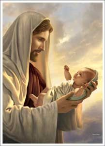 This painting hangs in the Sharkbaby's nursery.  That way he'll never forget how much Jesus loves him.