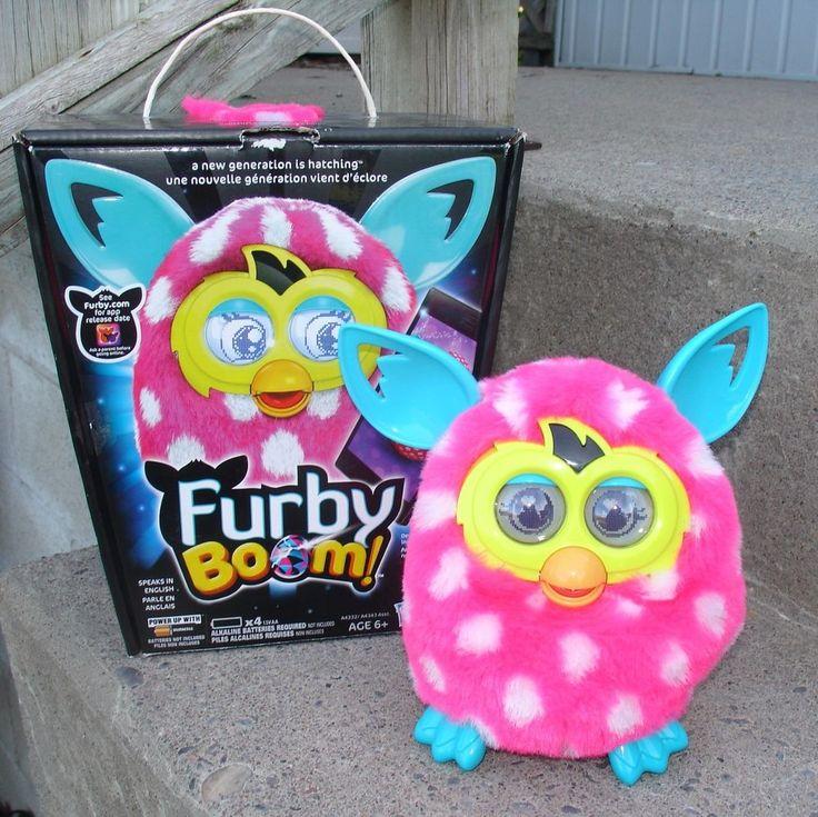 Furby Boom 2013 Pink and White Polka Dots Teal Blue Ears Talks Hasbro Box #Hasbro