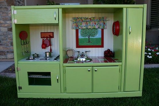 This is awesome! Made from an entertainment center turned on its side. Check out the Blog to see the before.