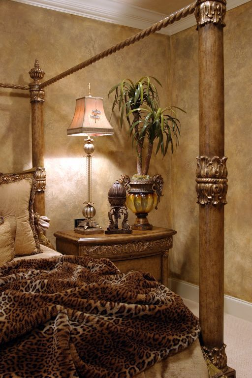 Faux Finish Walls And Leopard Print British Colonial Bedrooms Pinterest Columns Wall
