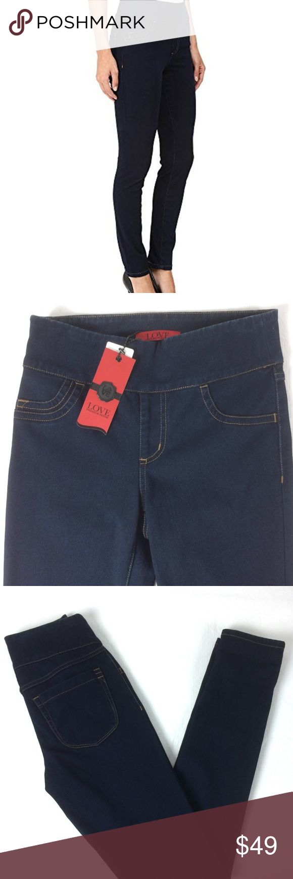 """FDJ  Love Denim Slim Jeggings dark pull on jeans Mid rise Jegging with slim leg fit super soft with 4-way stretch pul on style for a smooth waist faux front pockets 65% cotton, 35% lycra instantly slimming dark wash new with tags size 2 womens   Actual Measurements laying flat: Waist: 13"""" rise: 9.5"""" inseam: 32"""" leg opening: 5"""" French Dressing Jeans Jeans Skinny"""