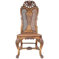 Single 19th Century English Carved Giltwood Queen Anne Style Side Chair #queenanne #style #antiques #19thcentury #store #english #sidechair #home #interiordesign