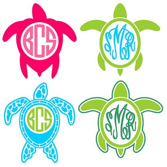 Turtle Monogram Frame Cuttable Designs Svg by CuttableSVG on Etsy