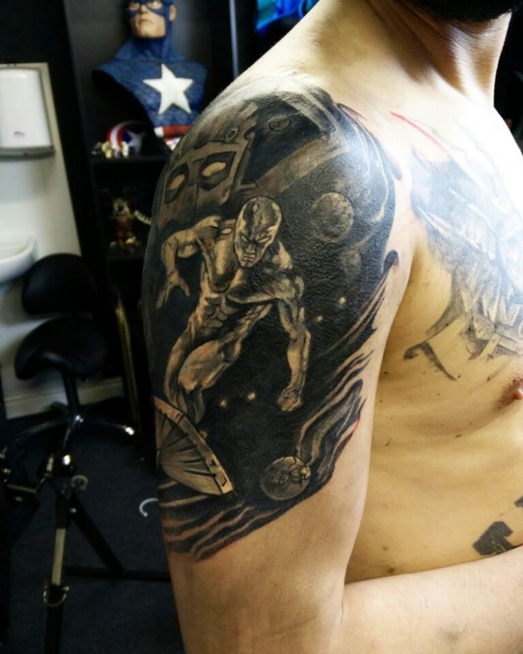 Silver Surfer. A cover up tattoo. By Bob.