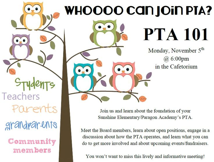 PTA meeting flyer! Nice graphics and very welcoming!